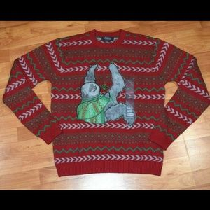 33Degrees Sloth Ugly Christmas SWEATER Men's Sz M